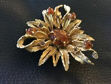 Stunning Brown Stone Brooch  Signed Hattie Carnegie Small Damage
