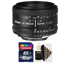 Nikon AF NIKKOR 50mm f/1.8D Lens with 16GB Top Accessory Kit