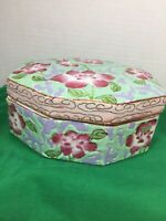 Vintage Chinese Porcelain Floral Trinket Jewelry Powder Box