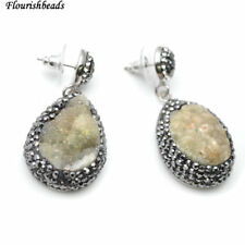 Gray Drusy Agate Black Glass Beads Setting Drop Stone Dangle Eearrings Jewelry