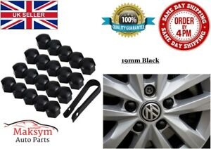 20x 19mm Black Nut Caps Covers Wheel Bolts + Removal Tool VW Audi BMW Mercedes