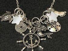 """Beach Comber Anchor Wheel Nautical Mix H Charm Tibetan Silver 18"""" Necklace"""