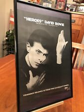 "Set Of 2 Big 11X17 Framed David Bowie ""Heroes"" Lp Album Cd 45 Single Promo Ads"