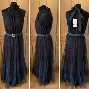 ZARA Black Tiered Gown Dress Size Large Mesh Overlay NEW Sleeveless Princess