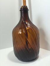 Vintage Brown Amber Glass Bottle Jug Swirl Spiral Design