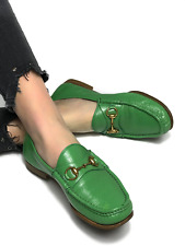Authentic GUCCI men's leather green horsebit loafers/moccasins shoes | Size 7.5