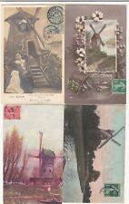 Lot 4 cartes postales anciennes FANTAISIES moulin muhle mill mulino 2