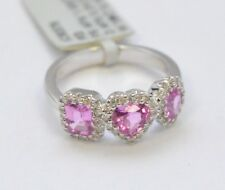 1542-18K WHITE GOLD PINK SAPPHIRE AND DIAMOND RING  5.1 GRAMS SZ 6.25