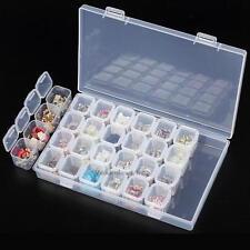 28 Compartment Plastic Storage Box Jewelry Craft Container Organizer Case