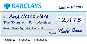 LARGE Personalised BARCLAYS Cheque for Charity / Presentation / Fundraising