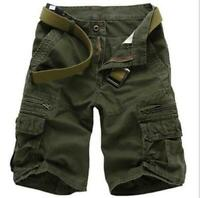 Mens Cotton Blend Multi-pockets Outdoor Shorts Trousers Loose Casual Cargo Pants