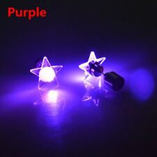 Fashion Unisex Punk LED Star Light up Glowing Blinking Ear Stud Earring Jewelry Purple