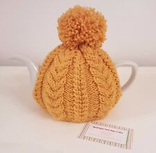 Hand Knitted Aran Tea Cosy - Mustard Yellow
