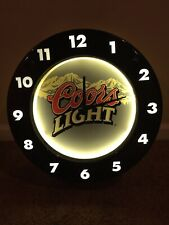 Clock Coors Light Lighted Sign Electric Backlit w/battery dial