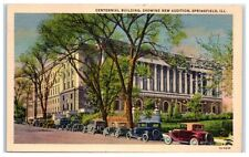 Mid-1900s Centennial Building, Springfield, IL Postcard