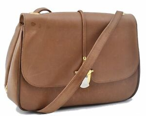 Authentic GUCCI Shoulder Cross Body Bag Leather Brown E2611