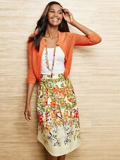 NEW $129 TALBOTS Orange Tropical Flowers Linen,Cotton Skirt Sz 2P,2 Petite