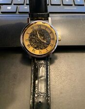 Glass Back, Manual Wind 40mm Skeleton Watch, Two Tone,