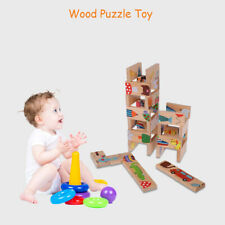 28x Kid Baby Wooden Stacking Train Toddler Block Toy Educational Puzzle Games