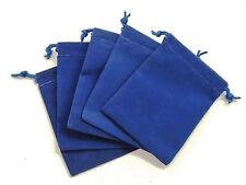 NEW 5 Piece 4 x 5.5 Velveteen Cloth Dice Bag Set – RPG D&D Pouch – Royal Blue