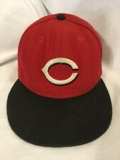 Cincinnati Reds Red with Black Bill New Era Fitted MLB 5950 Hat Cap Size 7 USA