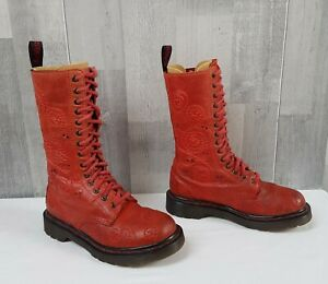 Dr Martens 12149 Red Leather Skull Swirl 14 Hole Calf Boots UK4 EU37 Rare