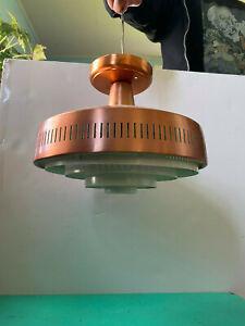 Vintage Copper 50s MCM Pendant Light Ceiling Fixture Flush Mount