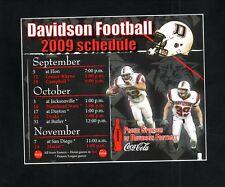 Davidson Wildcats--2009 Football Sticker Schedule--Coke