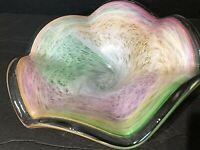 VTG. MURANO Glass Bowl Hand Blown MCM Glass Centerpiece Swirled rainbow Ruffled