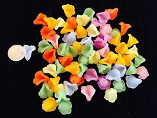 100 FROSTED MIXED COLORS ACRYLIC CALLA FLOWER LILY FLUTED FLOWER BEADS