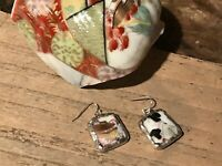 Recycled Broken Porcelain Jewelry, Asian Geisha Pagoda Earrings