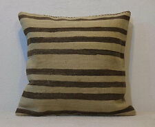 18''x18'' Bed Pillow Cover interior Designer Cushion Cover Cream Wool with Brown