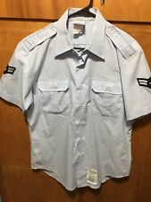 DSCP Wings Collection Air Force Military Men Size 16 Short Sleeve Shirt Lt Blue