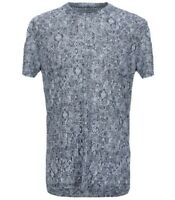 120% Lino Blue White Design 100% Linen Men's T- Shirt Shirt Sz 3XL  Slim Fit