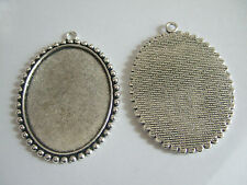 5 x Large Antique Silver Oval Cameo Cabochon Pendant Setting Tray 35x45mm Blanks