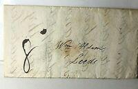 1822 Cover & Letter to William Aldam Leeds Mill Owner  Darlington Hand stamp