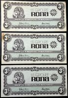 Lot of 3x Groupe Rona Argent Cle 3 Cents Paper Money - Great Condition