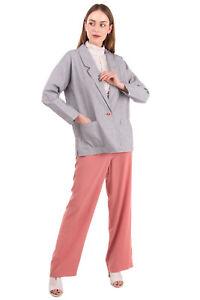 RRP €160 SESSUN Blazer Jacket Size L Silk Blend Two Tone Striped Notch Lapel