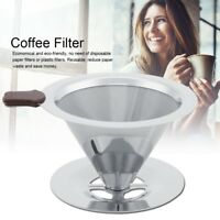 Stainless Steel Pour Over Cone Dripper Reusable Coffee Filter with Cup Stand