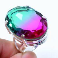 Bi-Color Tourmaline Gemstone Handmade 925 Silver Jewelry Ring Size 7  RARK-214