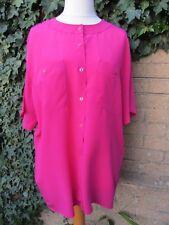 C&A Ladies Vintage Cerise Pink 100% Genuine Silk Shirt Size XL (46)