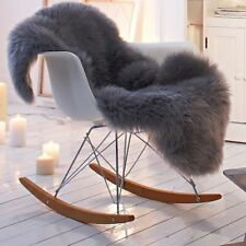 Luxury Genuine Sheepskin Rug Throw Dyed Color Grey Graphite Silver Ashen Big XL