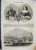 Original Old Antique Print 1861 King Queen Holland Railway Station Netherlands