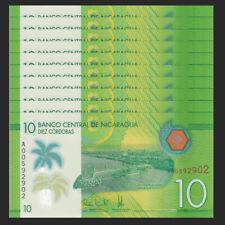 Lot 10 PCS, Nicaragua 10 Cordobas, 2014(2015),  P-208, Polymer, UNC>New Design