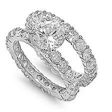 3CT HIGH SETTING CUBIC ZIRCONIA ETERNITY WEDDING RING & BAND SET-925-FLAWLESS 9