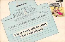 POSTCARD   COMIC  TELEGRAM  ( French )  Suis en planne avec ma femme,,,,