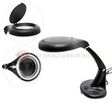 Lighted Table Top Magnifier Black 2x Illuminated Glass Desk Lamp Magnifying