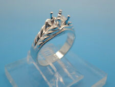 5 mm Round Slash Shank Solid Sterling Silver Pre-Notched Ring Mounting Sz 7