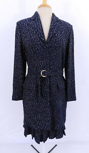 St. JohnCouture Blue & Confetti White Blazer & Skirt Suit NWT New Sz 10/12