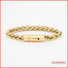bracciale uomo acciaio intrecciato chiusura a scatto braccialetto inox color oro
